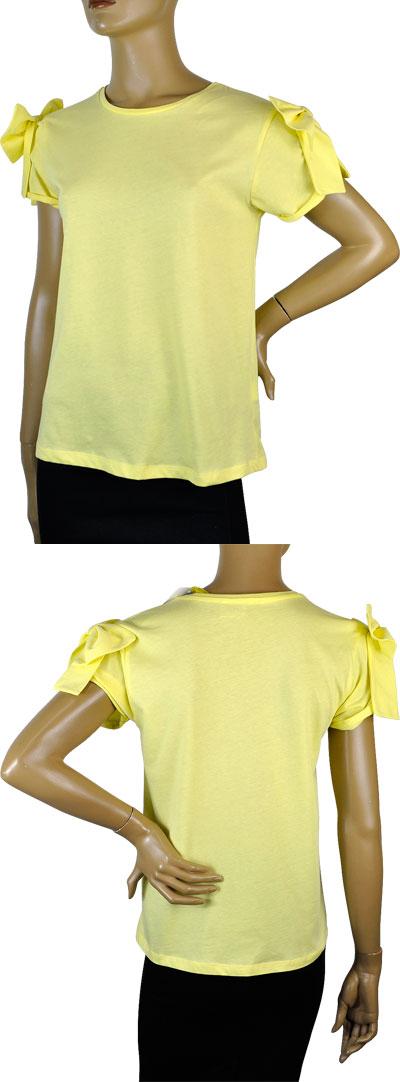 SALE 春夏 インポート カットソー POIS リボン付半袖カットソー 黄色