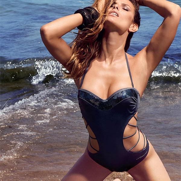 イタリア インポート 水着 AMAREA 18044 スパンコール刺繍モノキニ水着 (水着ワンピース) グレー