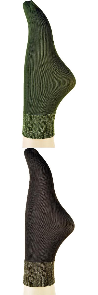 インポートソックス SANPELLEGRINO ANCONA リブ編ラメソックス 黒、ブラウン、ミリタリー