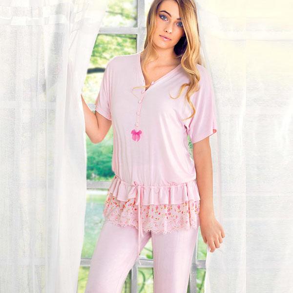 インポート ナイトウェア INFIORE 65896 チュニック・ロングパンツパジャマ グレー ピンク