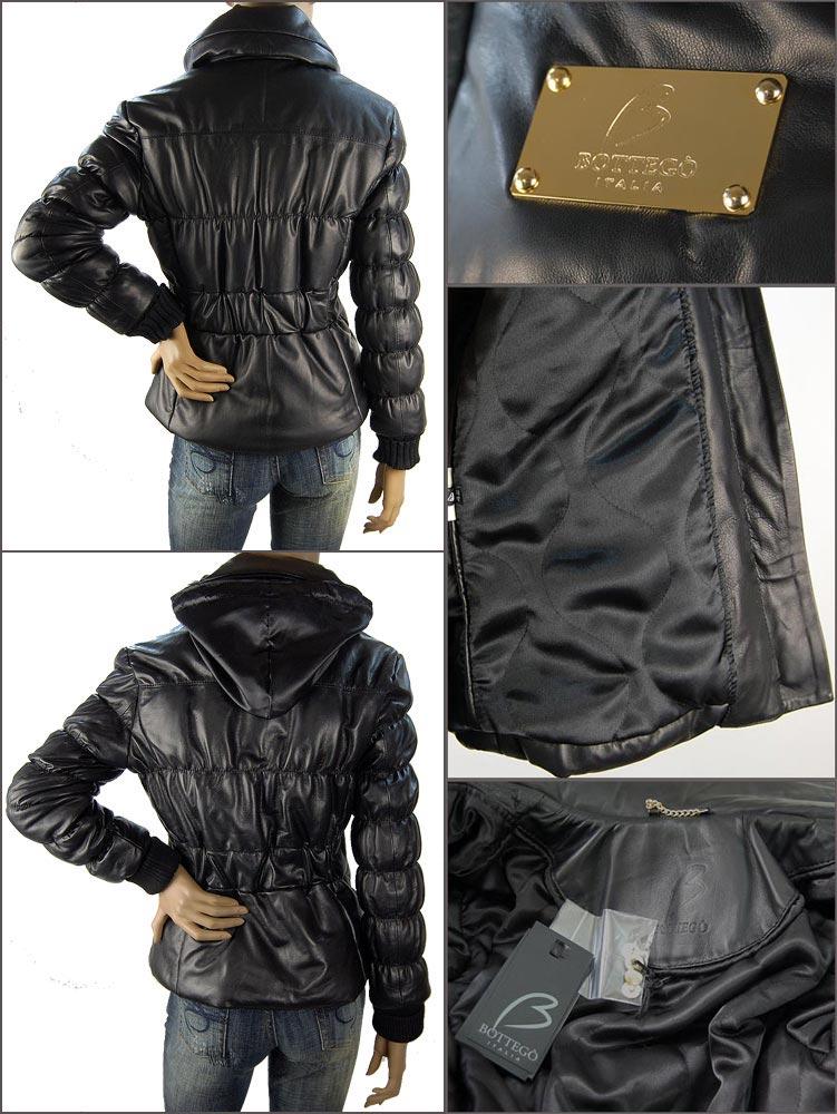 イタリア・インポート ブランド Bottego 最高級ナッパレザーダウンジャケット 黒