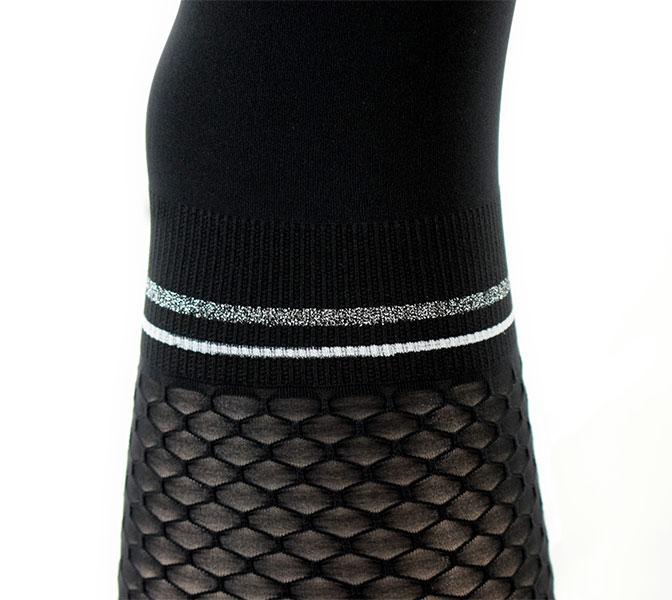 【2020/21秋冬】イタリアインポート柄タイツ TRASPARENZE ELFO 切替デザインラメ柄タイツ 黒