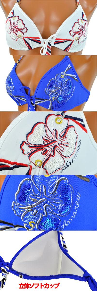 SALE インポート水着 AMAREA 180 刺繍モノキニ水着(ワンピース) ブルー系、赤系