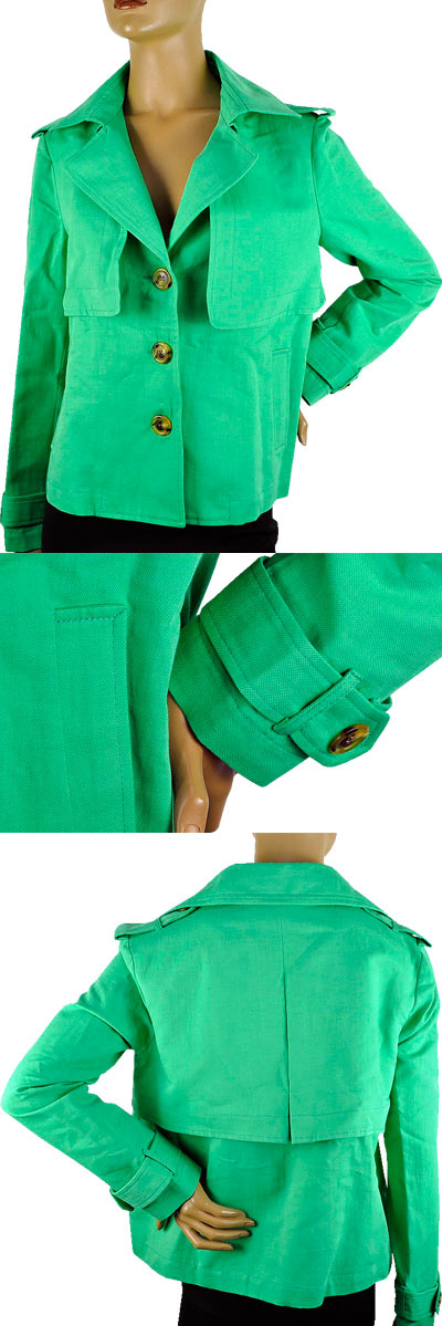 SALE 春夏 イタリア インポート ジャケット POIS リネン(麻)ショートトレンチ グリーン