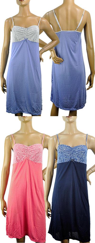 SALE春夏 インポート ナイトウェア Sol & Luna JU21 アニマル柄切替キャミソールナイトドレス
