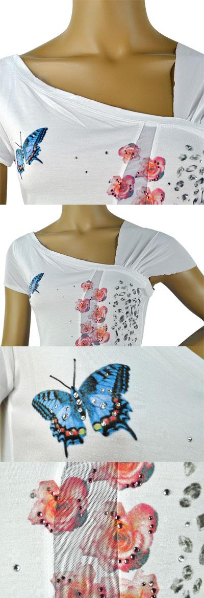 SALE 春夏 インポート カットソー GIARDINO PRIVATO ラインストーン刺繍カットソー 白