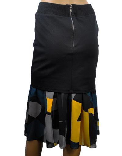 SALE 秋冬  インポート スカートSALE ELEONORA AMADEI 切替スカート ブルー・黄色系