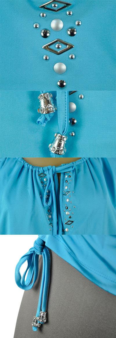 SALE 春夏 インポート カットソー GIARDINO PRIVATO スタッズ刺繍コサックチュニック ブルー