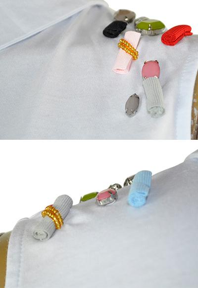 SALE 春夏 インポート カットソー ANIMA GEMELLA 刺繍アメリカンスリーブチュニックカットソー 白