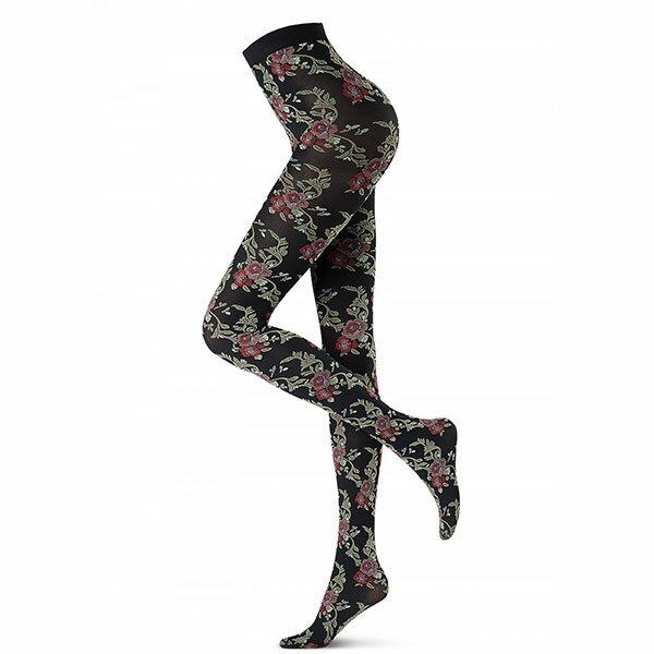 イタリア インポート 高級ブランド 柄タイツ OROBLU BLOOMS 刺繍花柄タイツ 黒