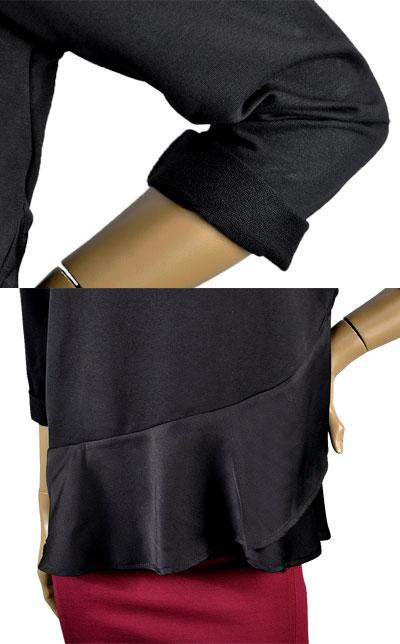 SALE 秋冬イタリア インポート カットソーIMPERIAL 刺繍カットソーチュニック 黒