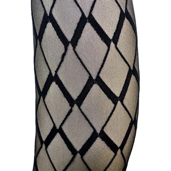 イタリア インポート 高級ブランド 柄ストッキング OROBLU VECTOR 幾何学柄ストッキング 黒