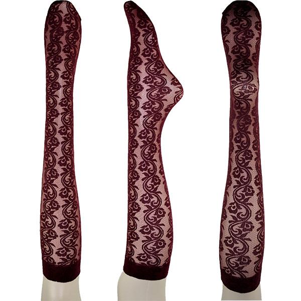 イタリア インポート 高級ブランド 柄ニーハイストッキングOROBLU IRIS フローラル柄レースニーハイストッキング 3色