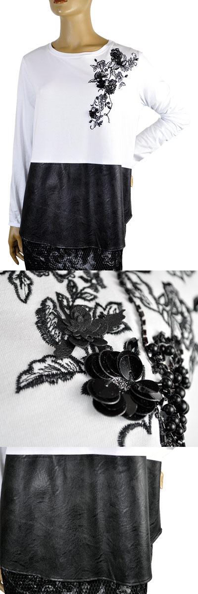 SALE 秋冬イタリア インポート カットソーPOIS THINK CHIC 刺繍エコレザー切替カットソー 白黒