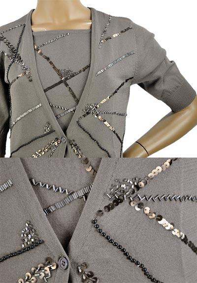 SALE 春夏 イタリア インポート ニット ELEONORA AMADEI ビーズ刺繍カーディガン ブラウン