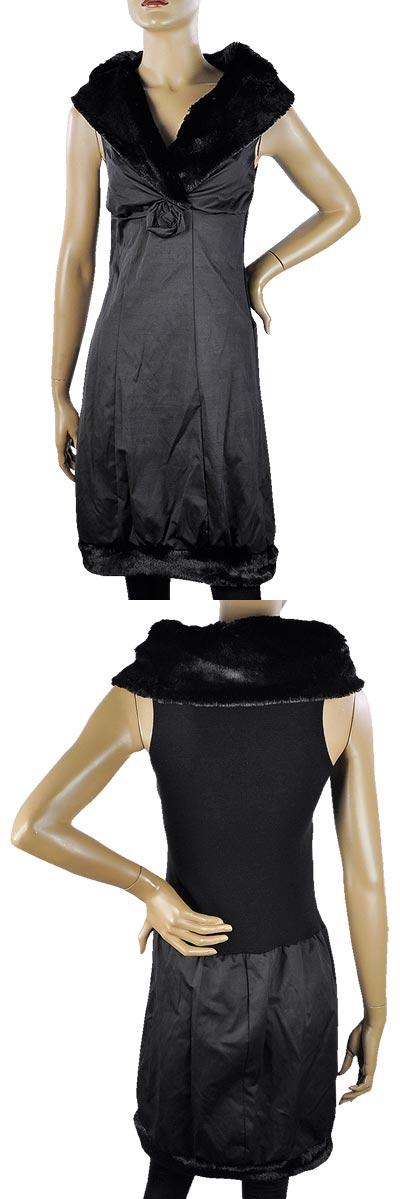 SALE 秋冬 インポート ワンピース BARIBA ファー襟デザインワンピース 黒