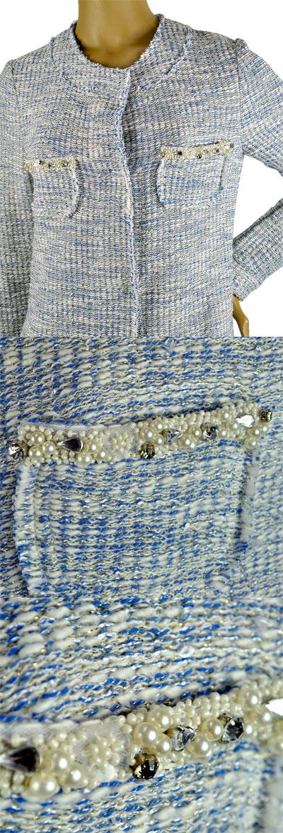 SALE 春夏 イタリア インポート コート IKO 刺繍ツイードコート ブルー