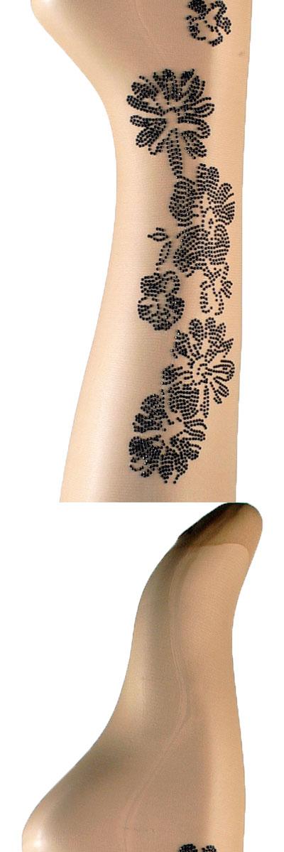 柄ストッキング OROBLU DETAIL タトゥー柄アップリケストッキング ベージュ