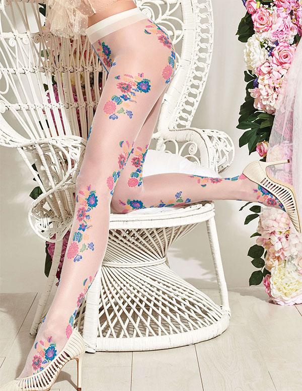 【2020春夏】イタリアインポート柄ストッキング TRASPARENZE MANDARINO 花柄ストッキング 4色