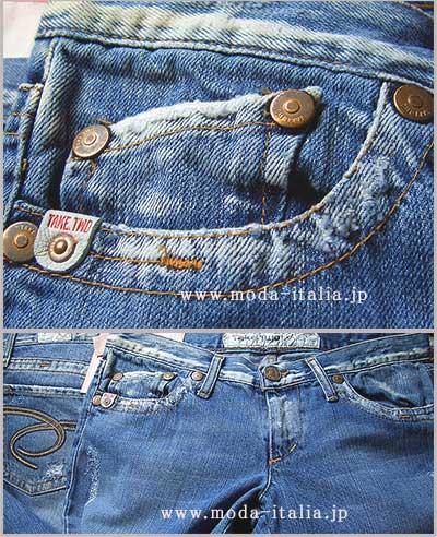 SALE イタリア・インポートデニム Take Two Kimberly ローライズブーツカットスリム刺繍ジーンズ