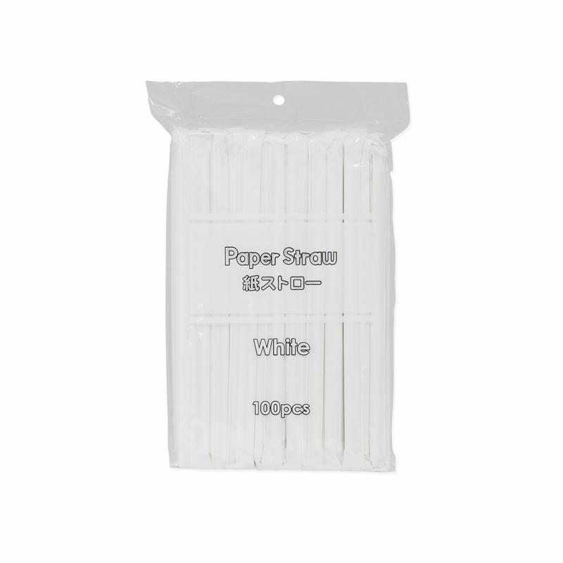 紙ストロー 紙個包装 ホワイト 100本