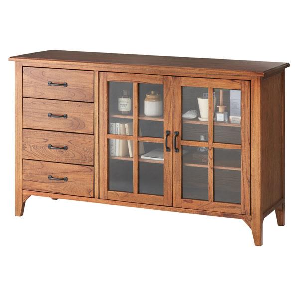 ガラス扉のサイドボード【120cm】天然木のレトロな家具