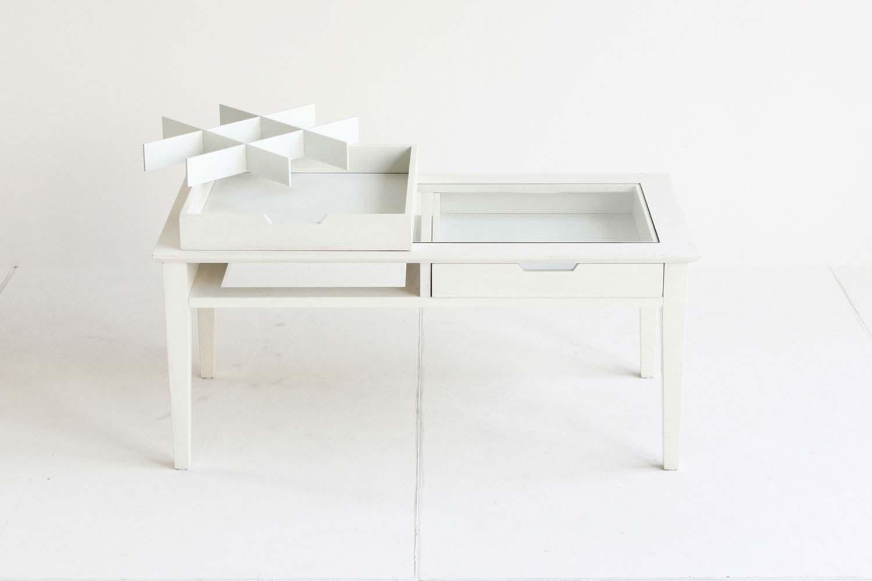 ホワイト ディスプレイできるセンターテーブル ir【幅90cm】フレンチインテリア