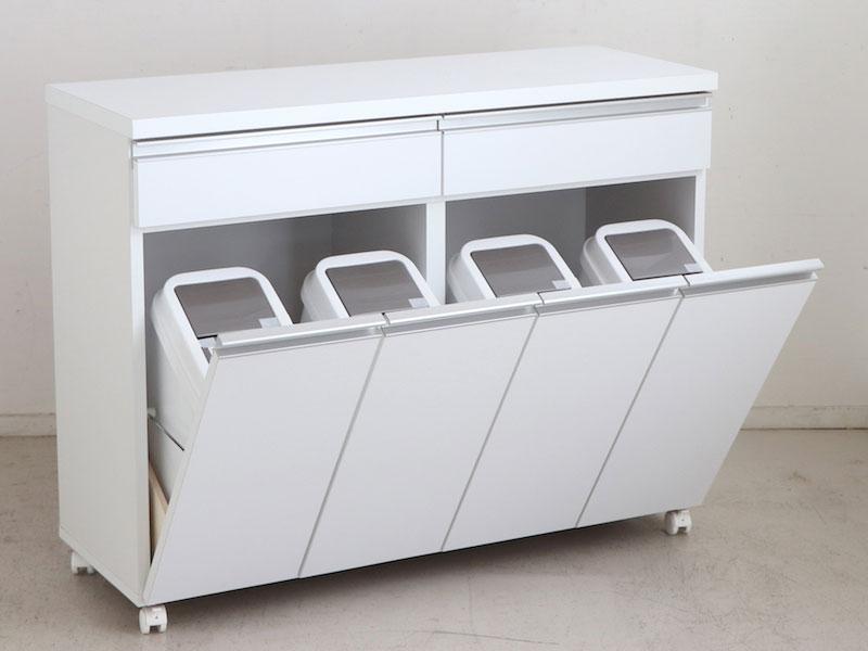 スタイリッシュなデザインのダストボックス&キッチンカウンター   幅109cm