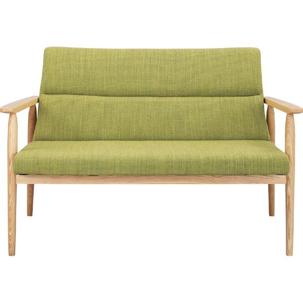 北欧デザインの天然木ソファ | グリーン | 2人掛け