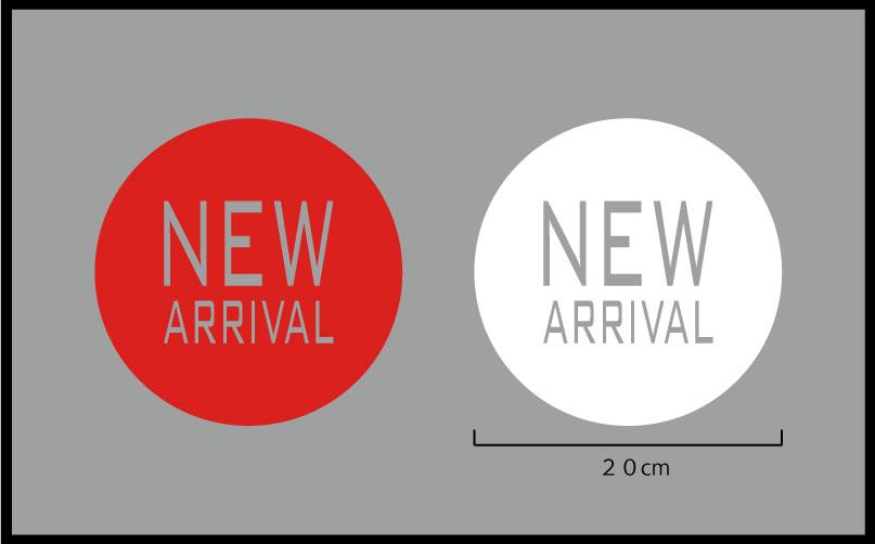 NEW ARRIVAL 文字の高さ 5cm、10cm、丸の中に抜き文字(ガラス用、ウィンドウ用切り文字ステッカー)