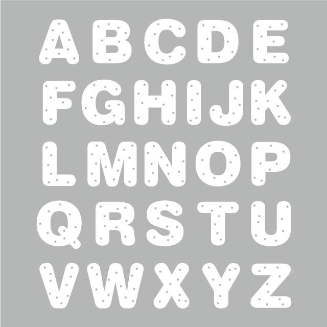 水玉アルファベット大文字(アイロン転写用、色:全20色、文字の高さ5cm)