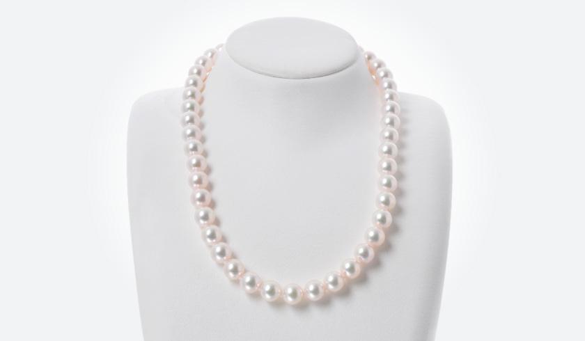 あこやオーロラ花珠本真珠(パール)ネックレス(9.0-9.5mm)