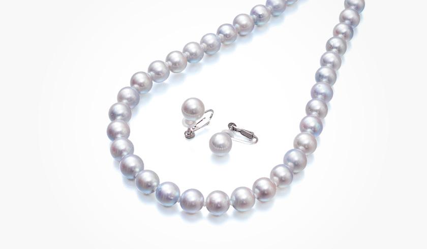 あこやナチュラルグレー本真珠(パール)ネックレスセット(8.5-9.0mm)