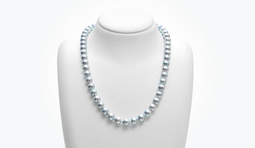 あこやグレー本真珠(パール)ネックレスセット(7.5-8.0mm)