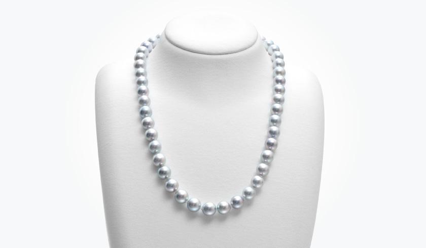 あこやグレー本真珠(パール)ネックレスセット(8.5-9.0mm)