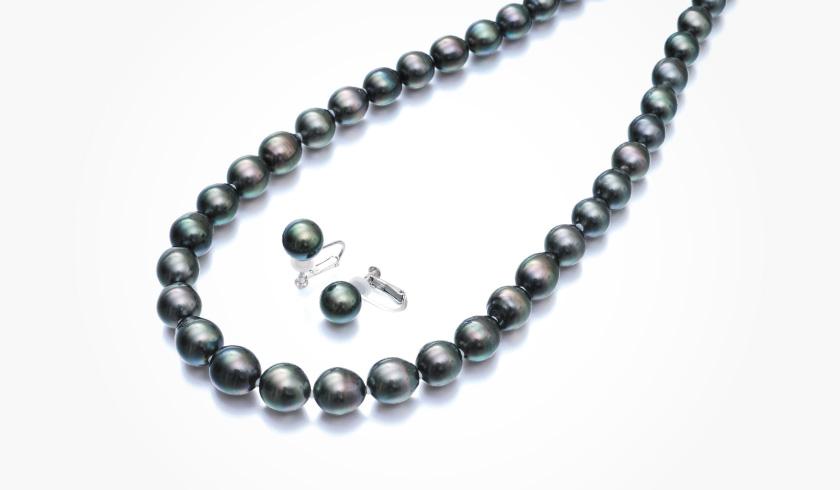 黒蝶(タヒチ)本真珠(パール)ネックレスセット(約8.0-10.0mm)