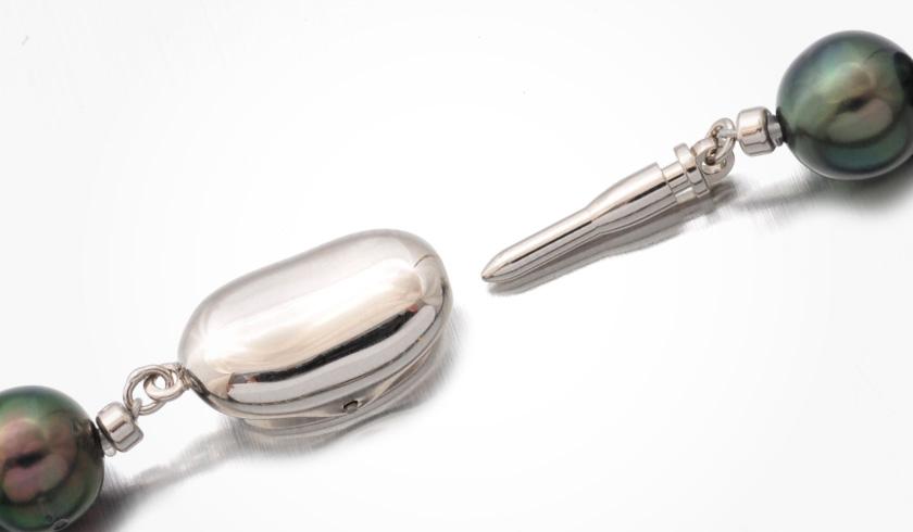 黒蝶(タヒチ)ピーコック本真珠(パール)ネックレスセット(約8.0-10.0mm)