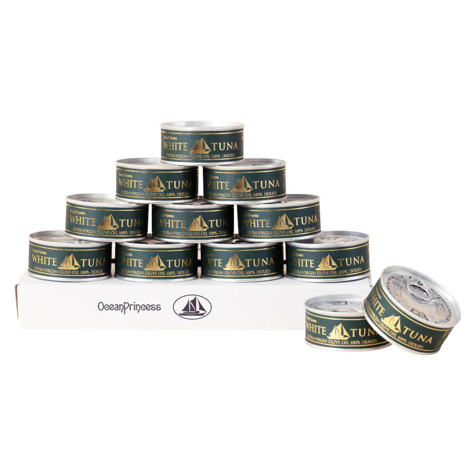 7周年感謝祭価格<br>オーシャンプリンセスホワイトツナ エキストラバージン オリーブオイル ツナ ソリッド タイプ 12缶