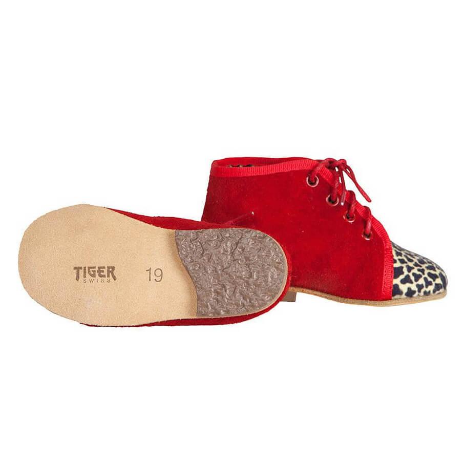 タイガーレザー 紐靴 赤