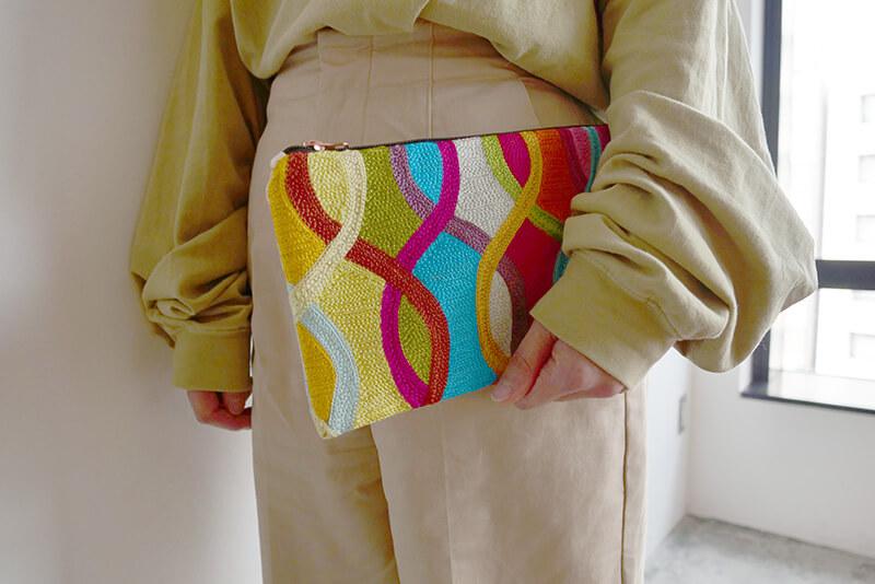 インド製 刺繍ポーチ(小)