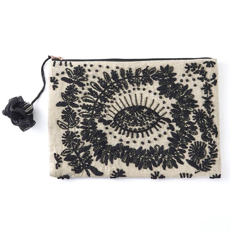 インド製 刺繍ポーチ(大)