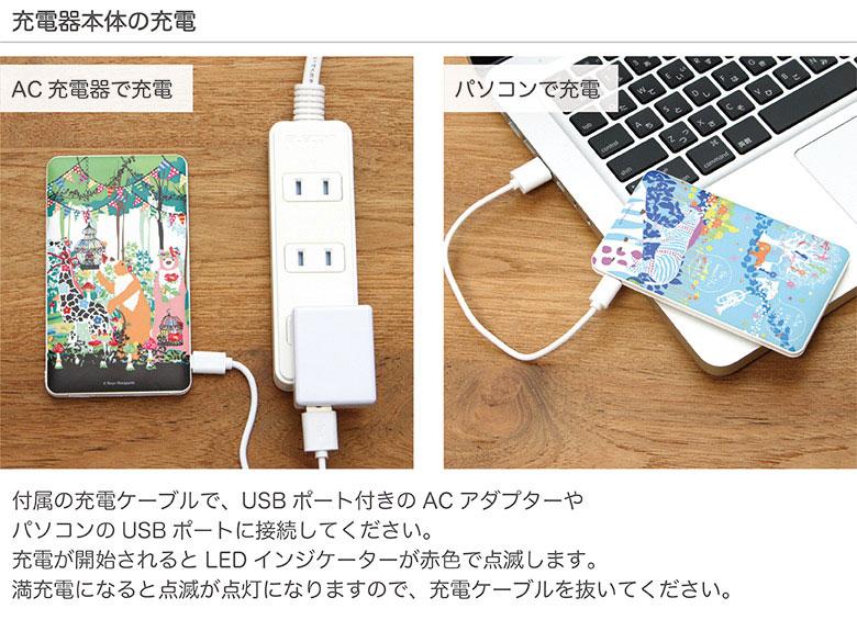ホラグチカヨ USB出力 ケーブル内蔵 リチウムイオンポリマー充電器 4000mAh