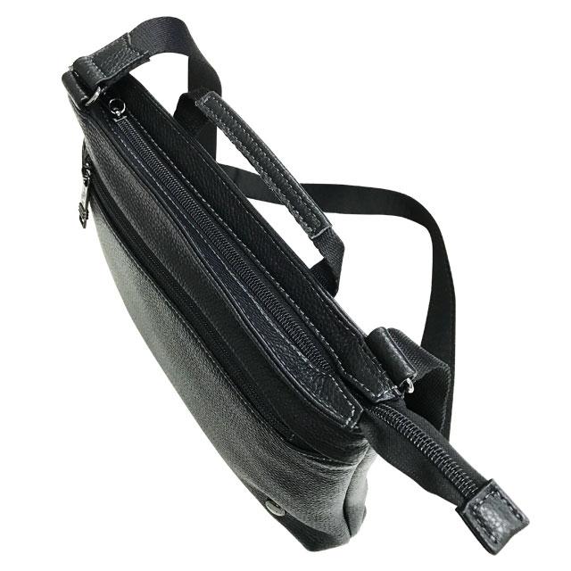 エンドー鞄 FARVIS HOLIDAY ファービス ホリデー レザー 薄マチ 横 ショルダーバッグ クロ 4-364-BK