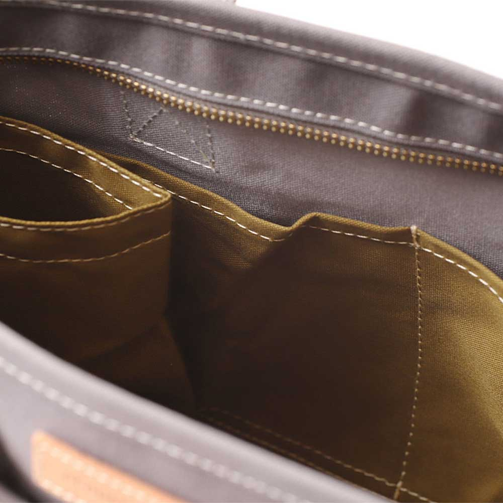 acoustic world アコースティック・ワールド stitch ステッチ ハンドバッグ ショルダー 日本製 本革 帆布 カーキ aw01902-KH