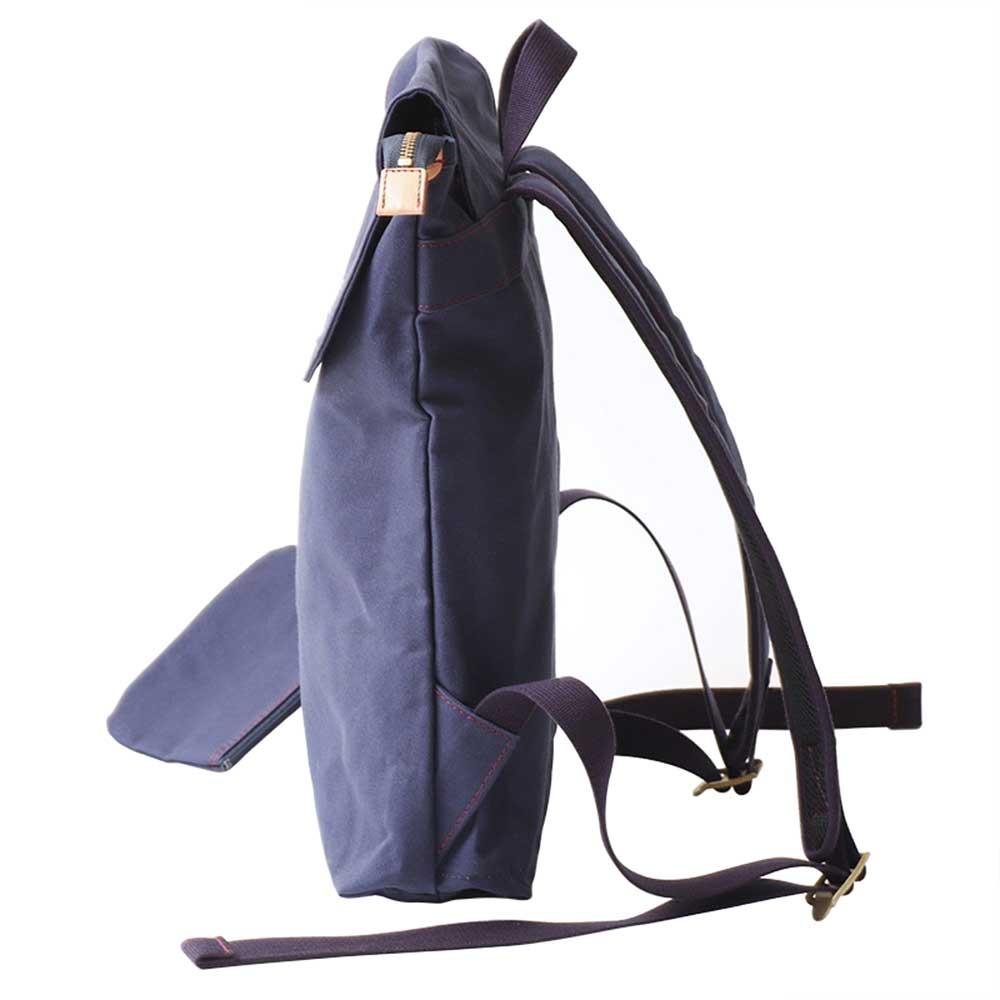 acoustic world アコースティック・ワールド stitch ステッチ フラップ リュック デイパック 日本製 本革 帆布 グレー aw01905-GY
