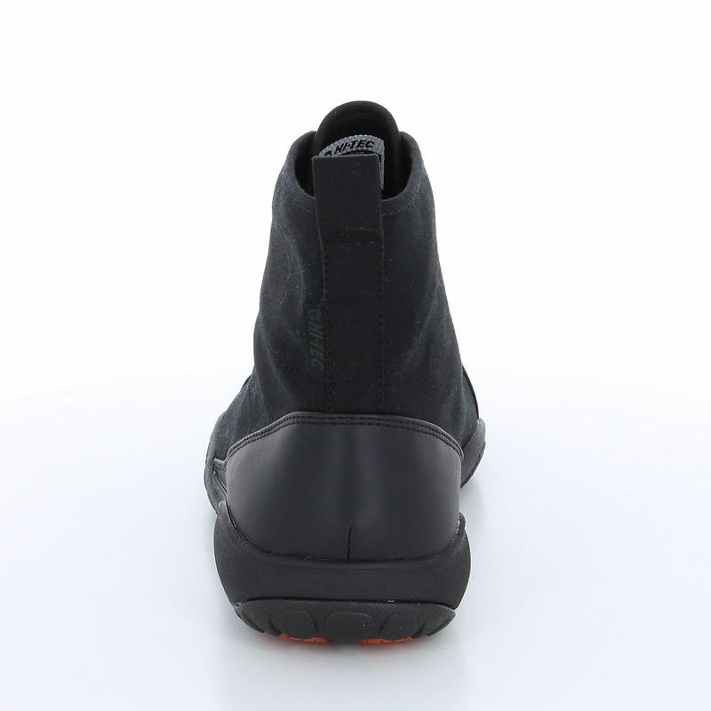 ハイテック メンズ/レディース レインスニーカー HT ADU11 AMACRO VENTILE ブラック クラシカルなデザインのハイカットレインスニーカー