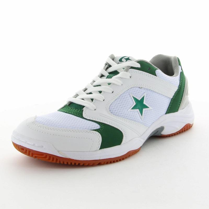 ムーンスター 子供靴/メンズ/レディース MS 1100T W/グリーン ムーンスター 高機能体育館シューズ