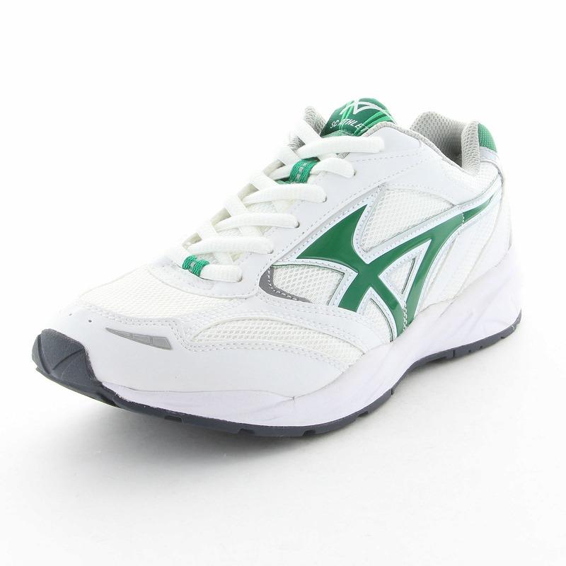 ムーンスター 子供靴/メンズ/レディース SCアスレチック006 ホワイト/グリーン ムーンスター 反射材搭載のグランドシューズ