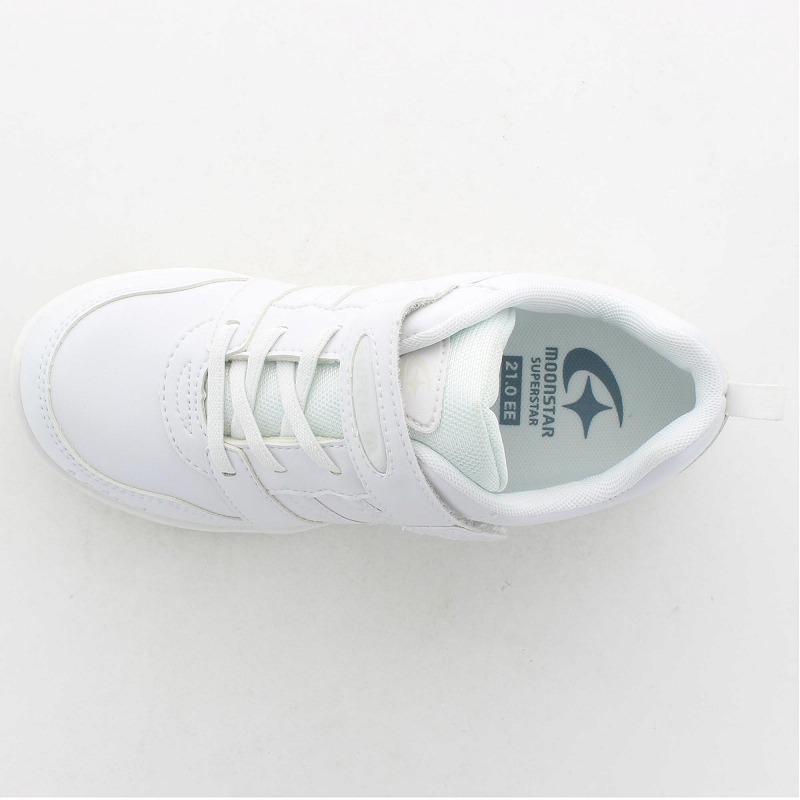 ムーンスター スーパースター 子供靴 SS J754 ホワイト バネのチカラ。 女の子用 オールホワイト
