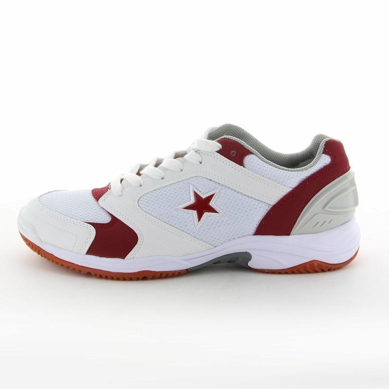 ムーンスター 子供靴/メンズ/レディース MS 1100T W/レッド ムーンスター 高機能体育館シューズ
